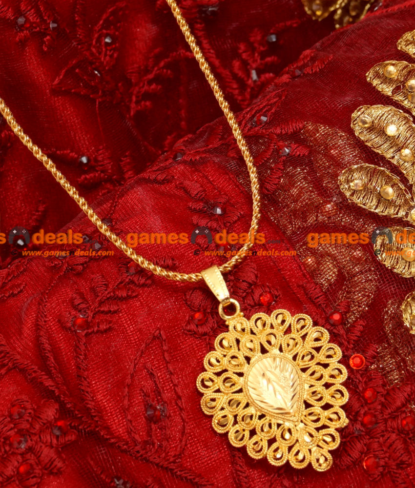 BGDR15- Gold Plated Imitation Chain With Leaf Dollar Design Twisted Jewelry