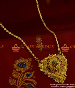 BGDR186 - Semi Precious AD 7 Stone Dollar with Wheat Chain Low Price Online