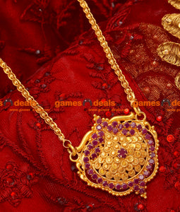 BGDR21-South Indian Tradiational Ruby Dollar Gold Plated Imitation Jewellery