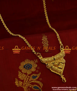 BGDR237 - Gold Plated Imitation Traditional Dollar Wheat Chain Indian Jewelry