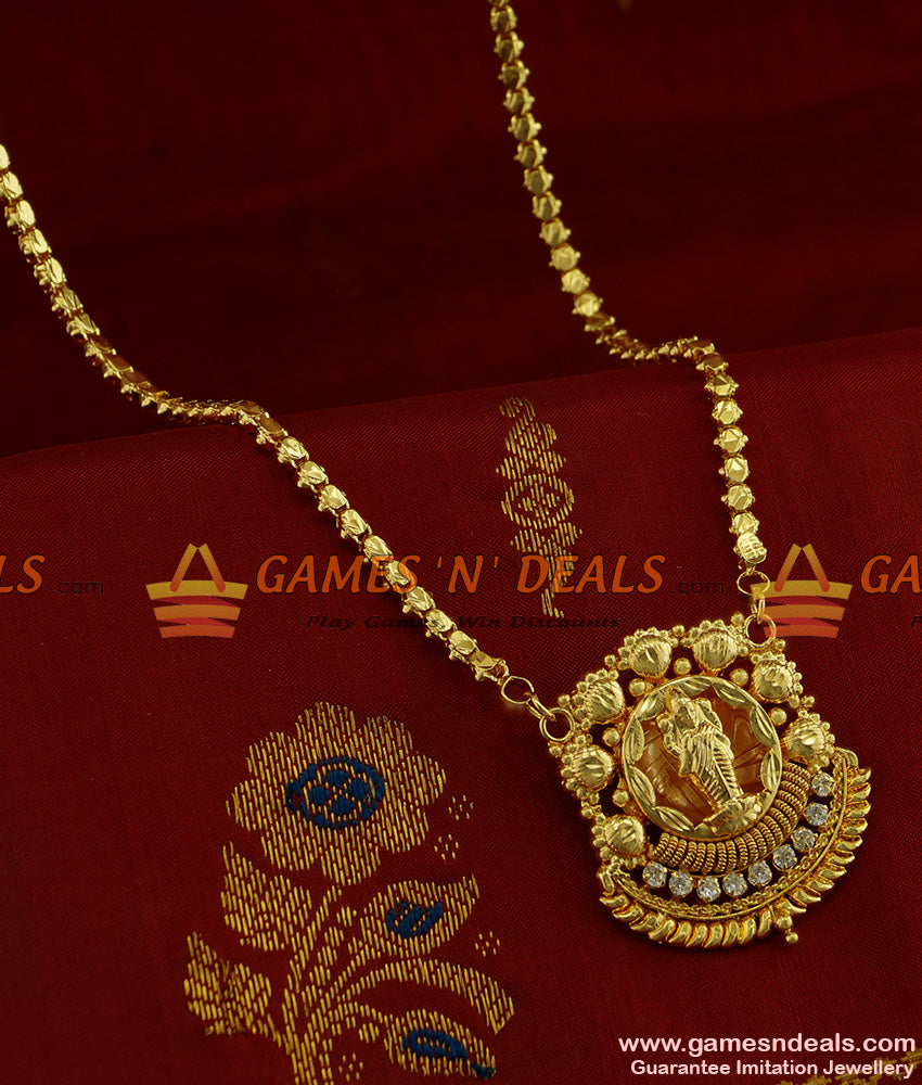 BGDR255 - AD White Stone Goddess Lakshmi Dollar with Traditional Box Chain