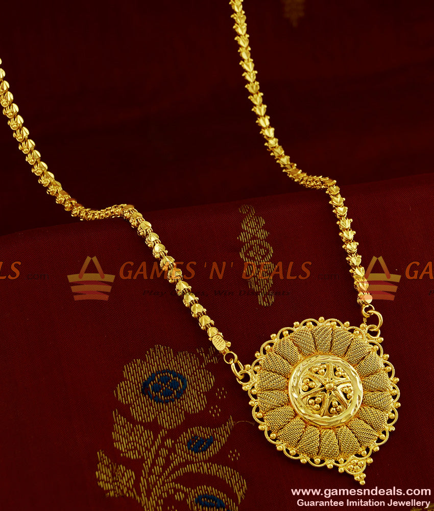 BGDR261 - Real Gold Like Imitation Jewelry Plain Dollar With Heavy Chain Online