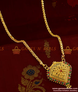 BGDR268 - Kerala Design Attractive Red Green AD Stone Dollar Imitation Jewelry