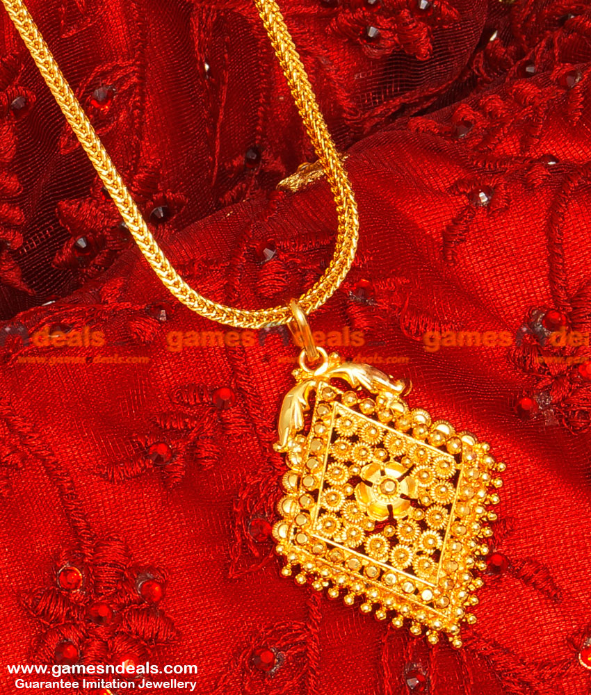 BGDR36 - South Indian Tradiational Plain Dollar Square Chain Indian Jewelry