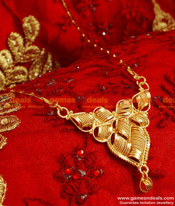 BGDR43 - Gold Plated Imitation Traditional Dollar With Wheat Chain Indian Jewelry