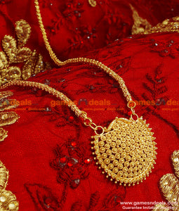 BGDR52 - Gold Plated Kerala Type Small Dollar With Trendy Design Chain