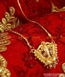 BGDR55 - Traditional Gold Plated imitation Lakshmi Dollar With Wheat Chain