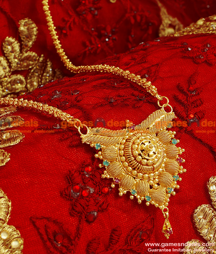 BGDR56 - South Indian Ruby Net Pendant Gold Plated Dollar With Chain