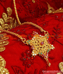BGDR61 - Gold Plated Traditional Ruby Star Design Trendy Dollar