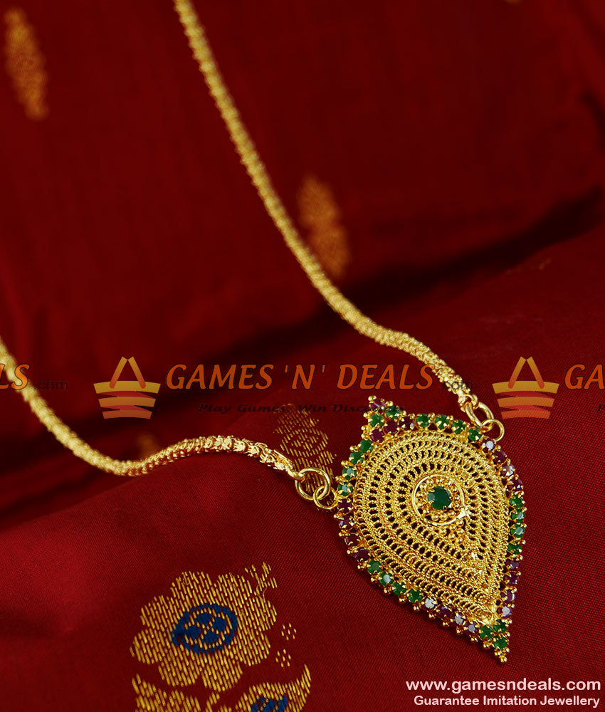 BGDR69 - South Indian Traditional Ruby Vishnu Dollar Gold Plated Jasmine Chain