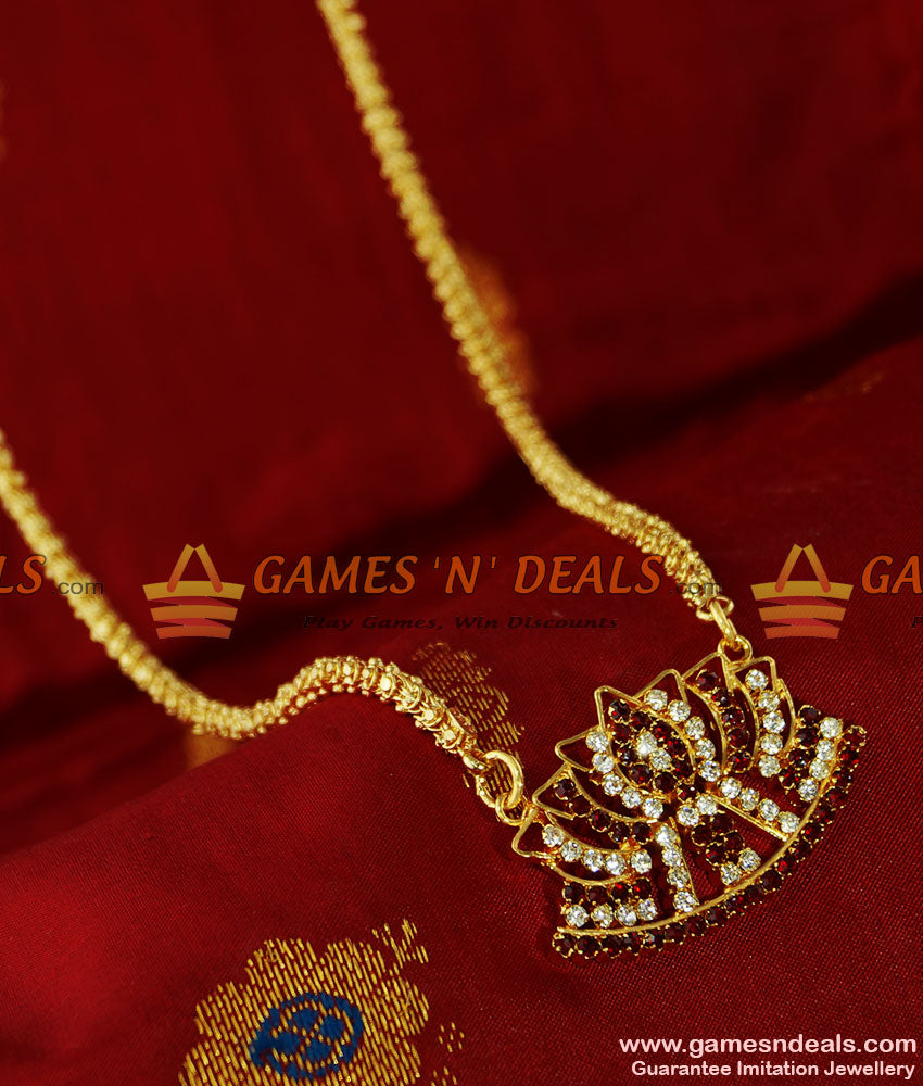 BGDR74 -South Indian Traditional AD Stone Lotus Dollar with Jasmine Chain