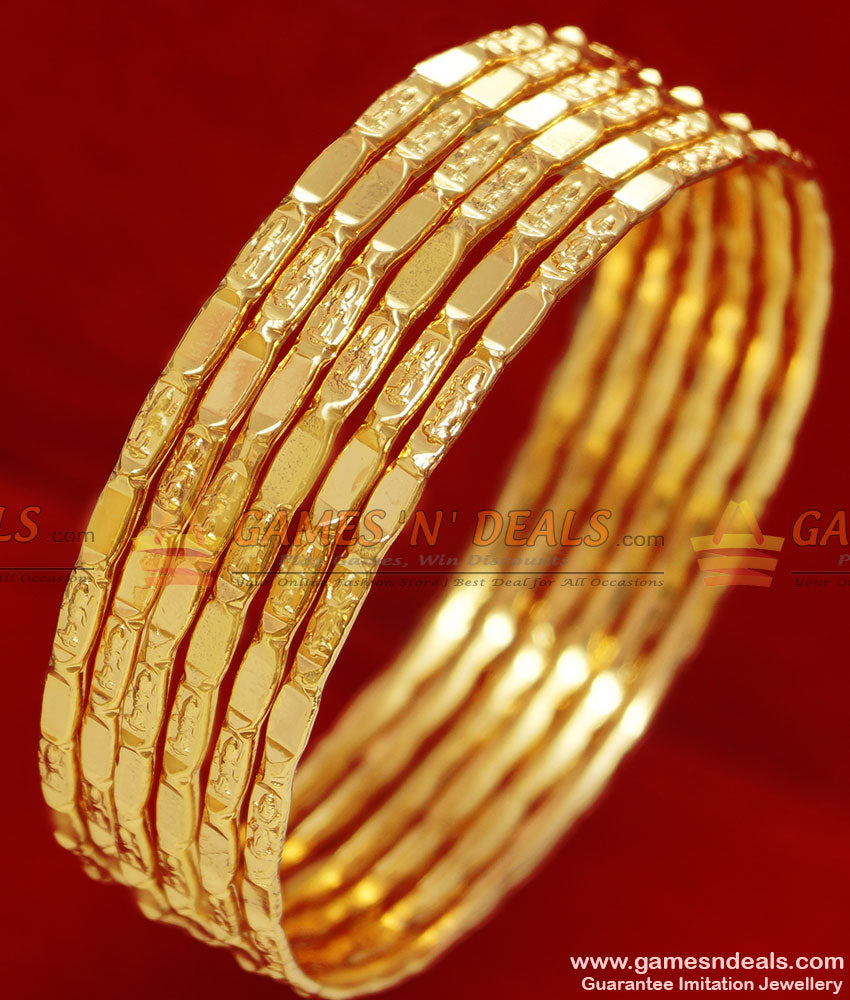 Six Pieces Gold Bangles Set