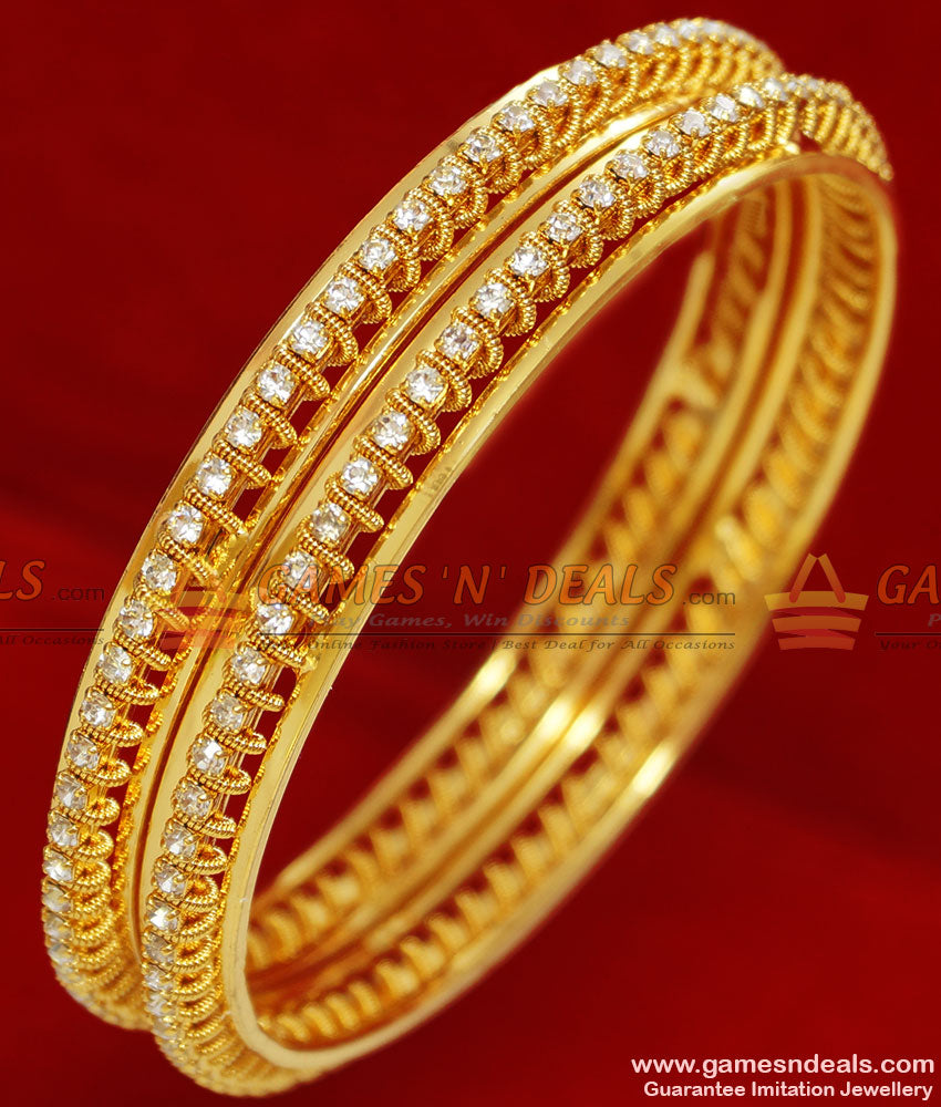 Sparkling White Stone Spring Design Bridal Wear Imitation Bangle