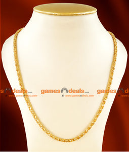 CH0102- Gold Plated Jewellery Trendy Round Box Chain Party Wear Jewelry