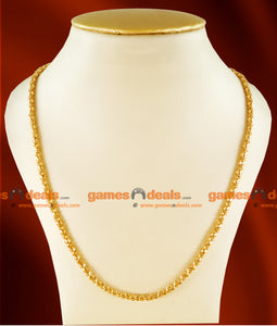 CH0104- Gold Plated Jewelry  Traditional Box Chain Plain Petal Design Jewelry