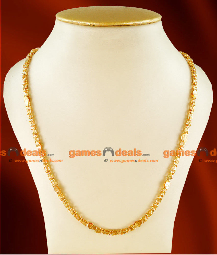 CH0106- Gold Plated Jewellery Traditional Link Chain Diamond Cut Design