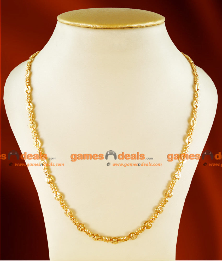 CH0107- Gold Plated Jewellery Traditional Beaded Link Chain Lotus Design Jewelry