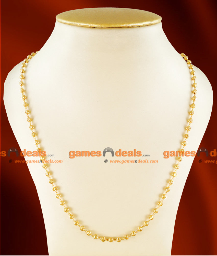 CH0109- Gold Plated Jewellery Traditional C Cut Beaded Mani Chain Design