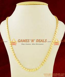 CHRT21 - Gold Plated Leaf cut Oval Design Thick Chain Guarantee Jewelry