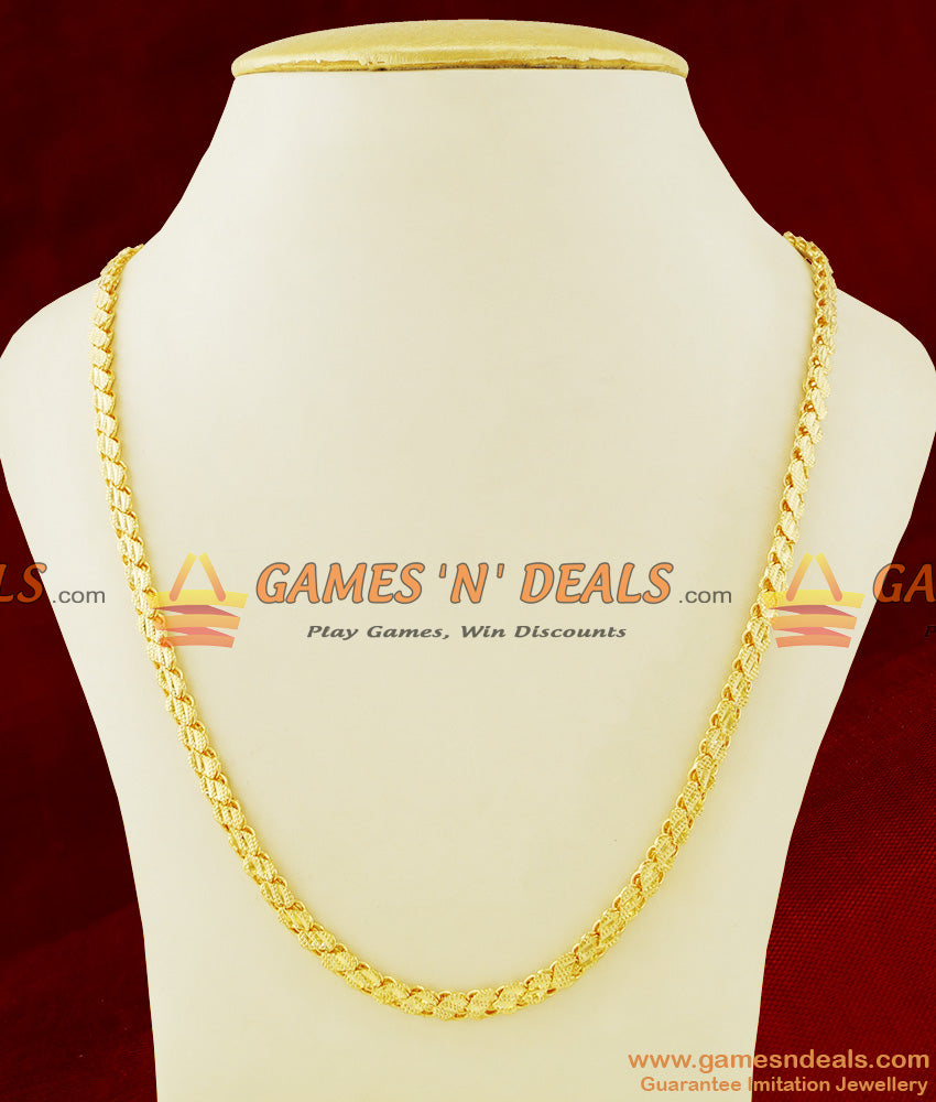 CHRT22 - Gold Plated Leaf Cut S-Plate Design Thick Chain Guarantee Jewelry