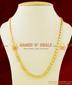 CHRT23 - Light Weight Traditional Gold Plated Heartin V-Cut Imitation Chain