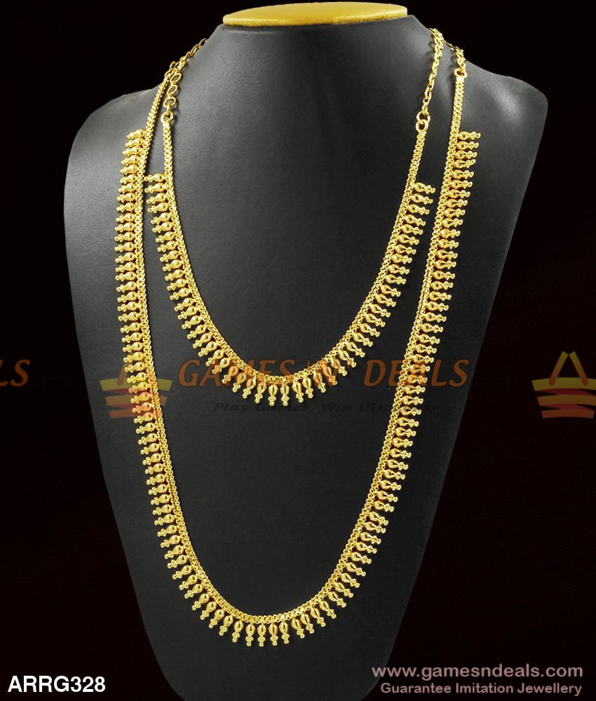 Combo Necklace Haaram Set Light Weight Gold Design Long For Marriage 1 Year