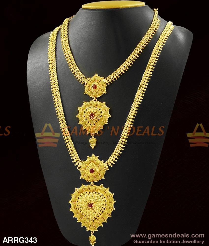 Double Dollar Pattern Grand Ruby Stone Combo Necklace Set Buy Online 1 Year Long