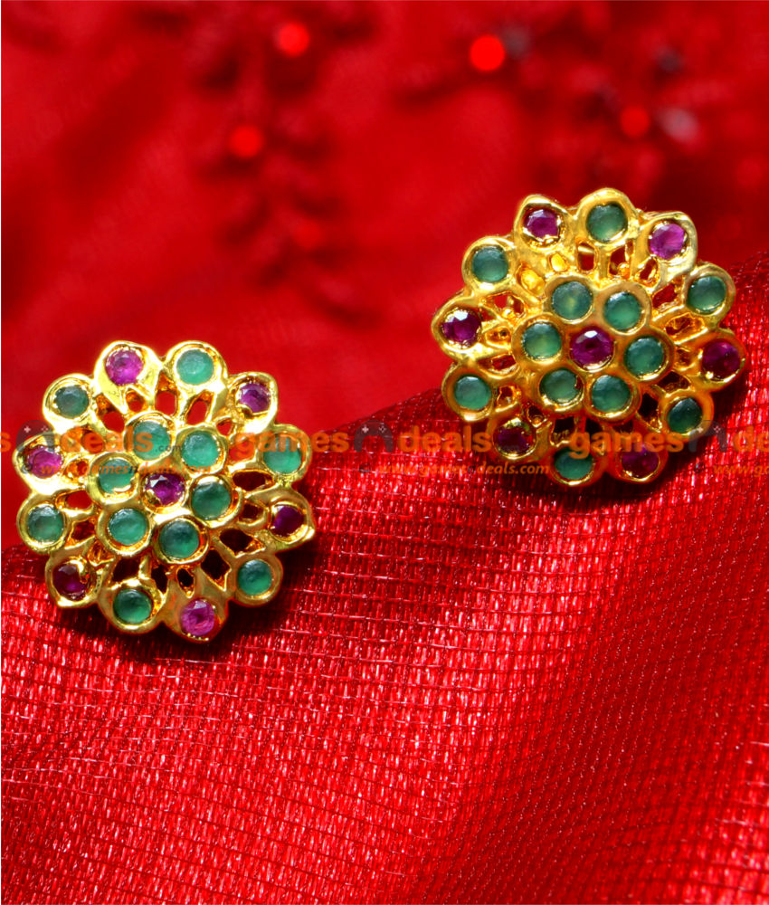 ER018 - 24ct Pure Gold Plated Imitation Ruby Ear Rings Dull Finish
