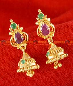 ER023 - Gold Plated Guarantee Kerala Stone Jhumkhi Daily Wear Real Gold Design
