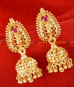 ER025 - Gold Plated Guarantee Ear Ring Kerala Type Daily Wear Real Gold Design