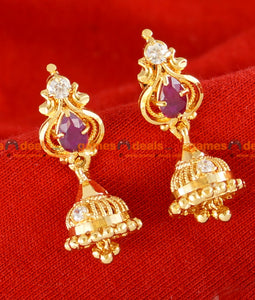 ER026 - Gold Plated Guarantee Kerala Stone Jhumkhi Daily Wear Real Gold Design