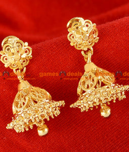ER028 - Traditional Jhumkhi Gold Plated Guarantee Daily Wear Real Gold Design