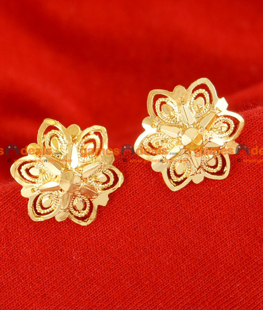 ER041 - Traditional Flower Medium Stud Gold Plated Ear Ring Guarantee Jewellery