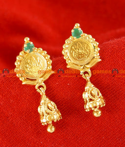 ER048 - Traditional Kasu Lakshmi Coin Jhumkhi Design Stone Ear Ring