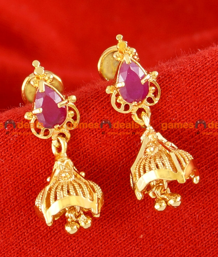 ER064 - Gold Plated Imitation Stone Ear Rings Trendy Design Stud