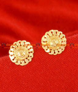 ER066 - Gold Plated Imitation Traditional Sunflower Stud For Middle Aged Women