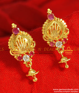 ER086 - Daily Wear Gold Design Small Jhumkhi AD Stone Imitation Ear Rings