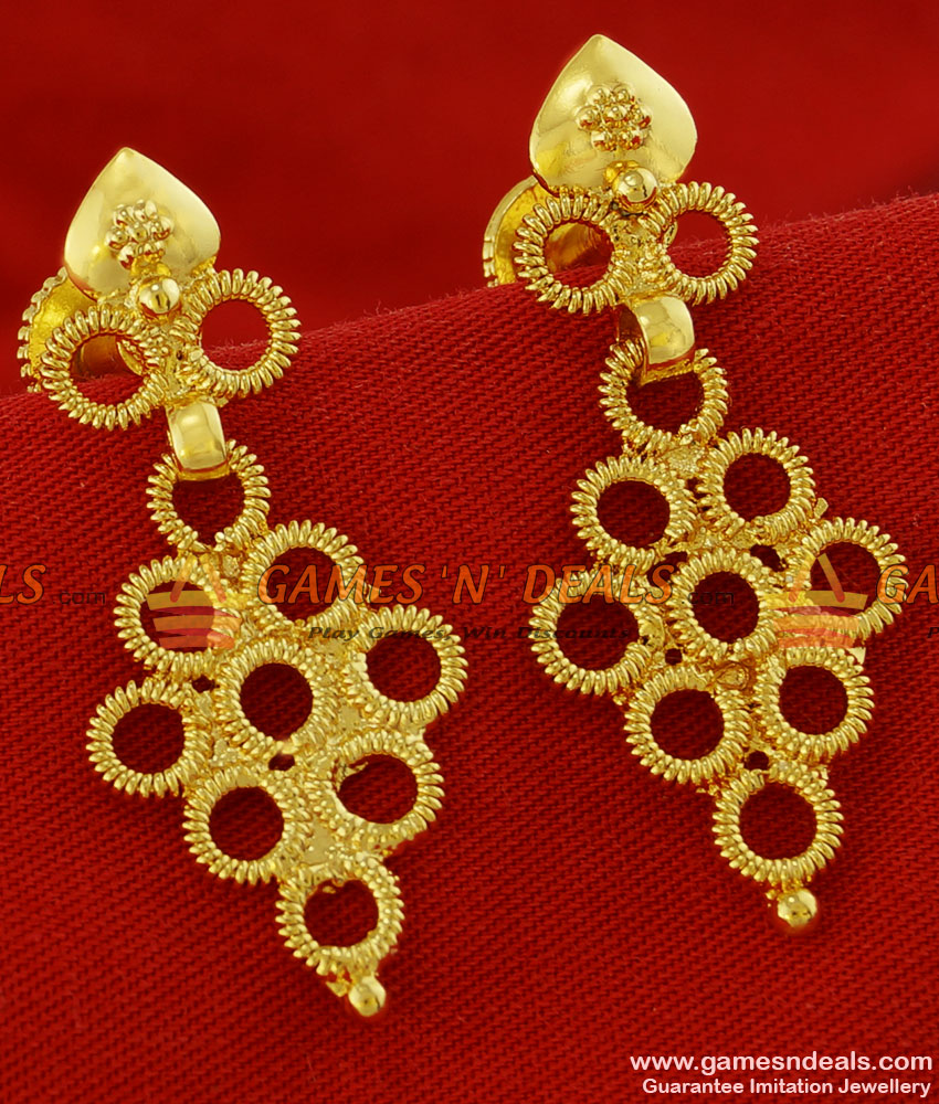 ER100 - Daily Wear Hanging Springs Model Real Gold Like Ear Rings Design