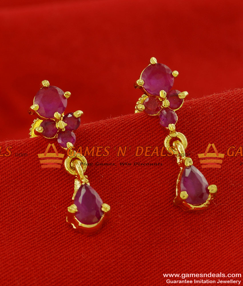 ER109 - Trendy Daily Wear Ruby Stone Imitation Ear Ring South Indian Jewelry