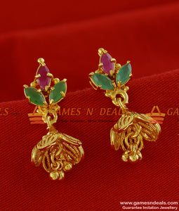 ER120 - Peacock Jhumiki Cubic Zircon Stone Party Wear Design Imitation Ear Ring
