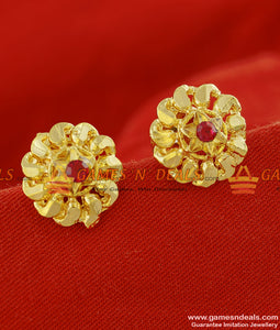 ER148 - Medium Size Traditional Five Petal AD Red Stone Flower Stud Design