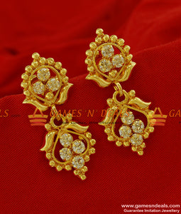 ER161 - Trendy Daily Wear AD White Stone Imitation Ear Ring South Indian Jewelry