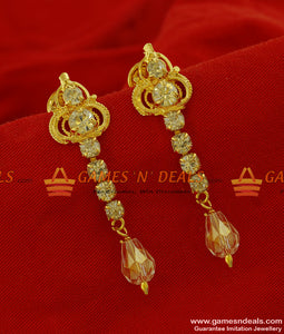 ER173 - Fancy Non Guarantee Gold Plated White Crystal AD Stone Titanic Ear Ring