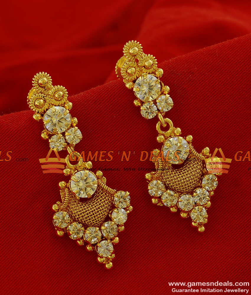ER176 - Grand Party Wear Big White Stone Imitation Ear Ring South Indian Jewelry
