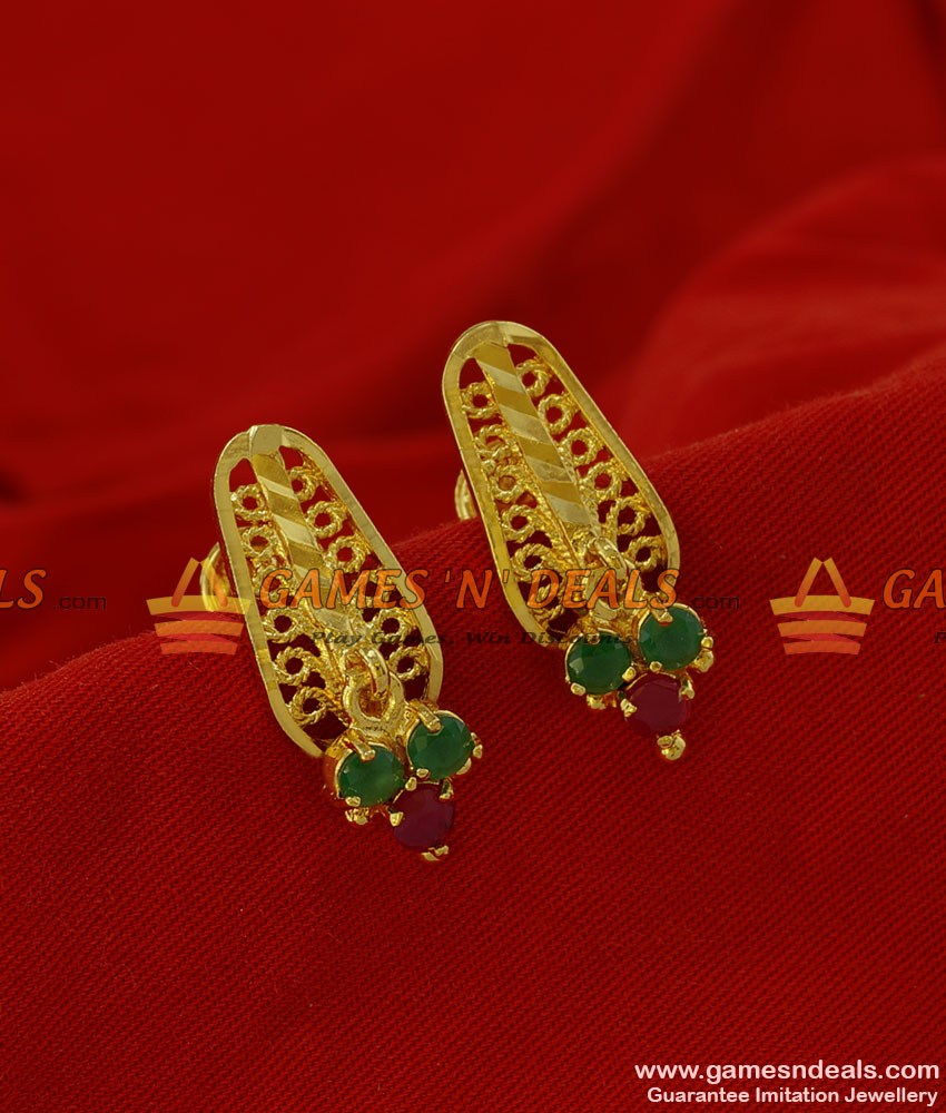 ER182 - Peacock Design Daily Wear Ruby Stone Imitation South Indian Ear Ring