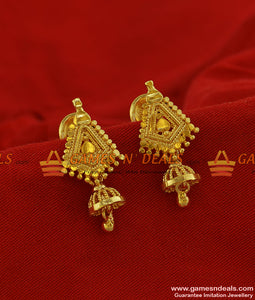 ER195 - Small Traditional Gold Plated Jewelry Guarantee Ear Ring Design