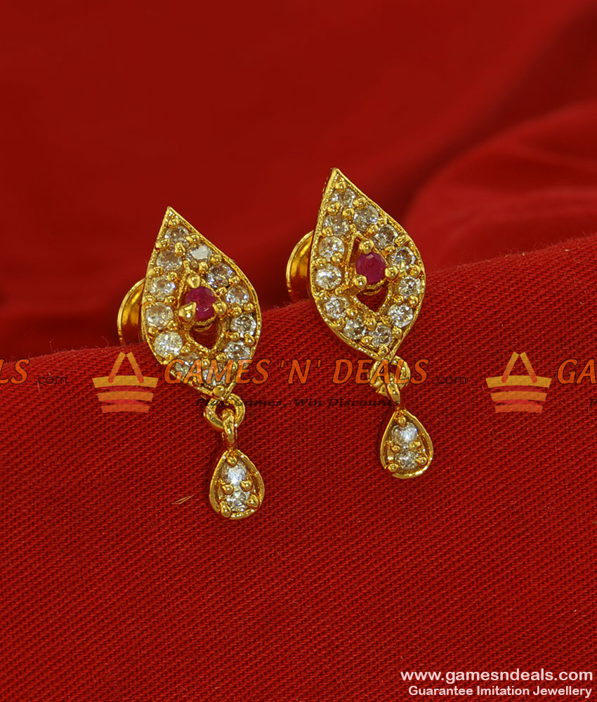 ER196 - AD Stone Small Traditional Gold Plated Jewelry Guarantee Ear Ring