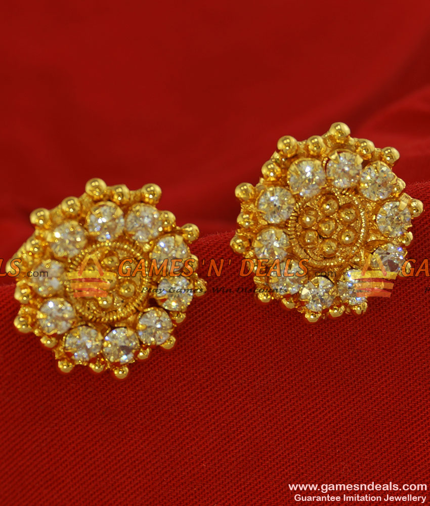 ER206 - Daily Wear Big Size White Stone  Traditional Stud South Indian Jewelry