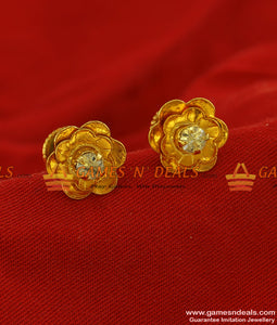 ER210 - Trendy Teen Golden Flower Stud with Small White Stone Teen Jewelry