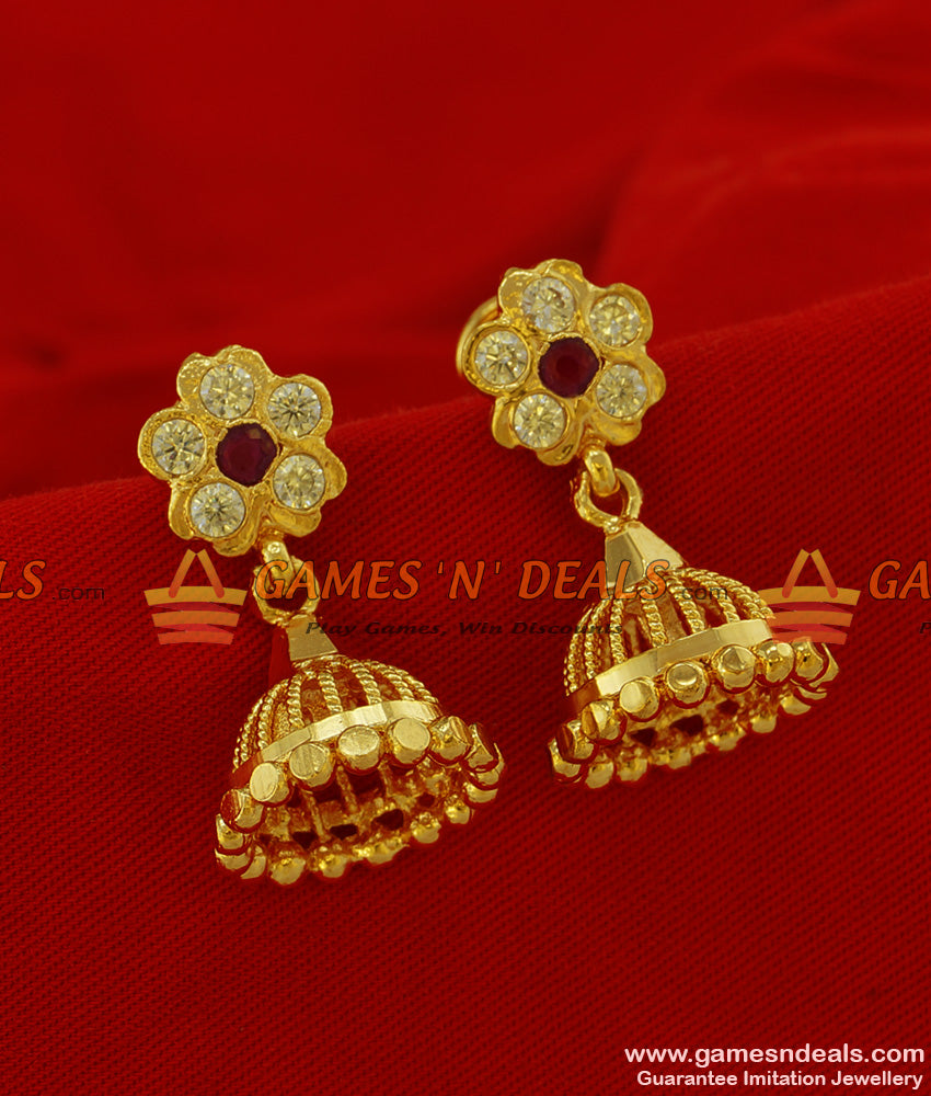 ER222 - Traditional Aympon Stone Stud Small Jhumki Handcrafted Solid Design